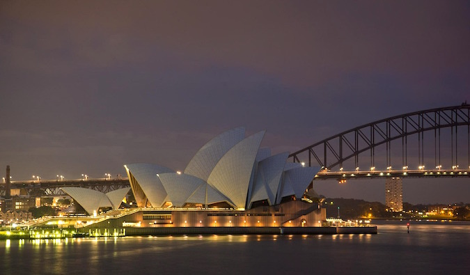 Famous landmark Sydney Opera House lit up at night
