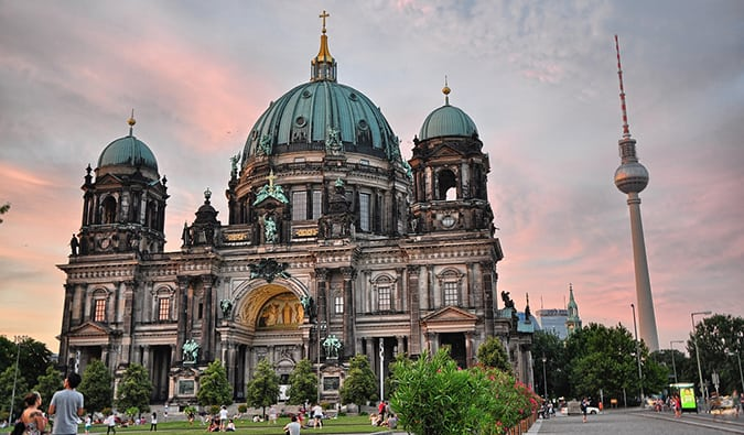 Museum Island, Berlin with the big church during sunset