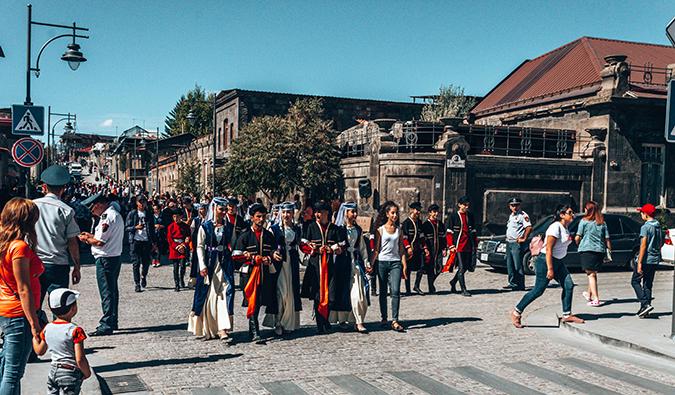 people walking down a crowded street in Armenia