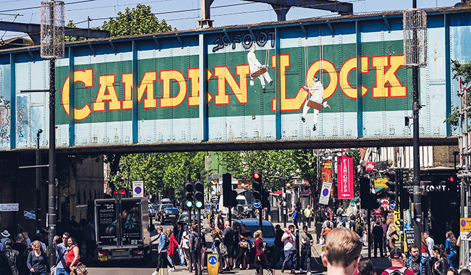 the crowded market around Camden, London
