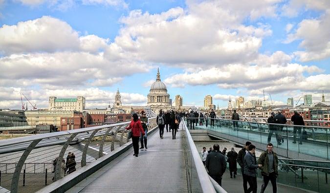 people walking around St. Paul's in London