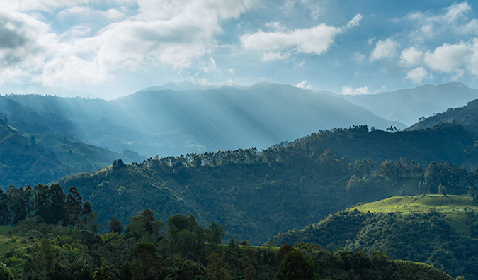 a green mountainous landscape in the Colombia countryside