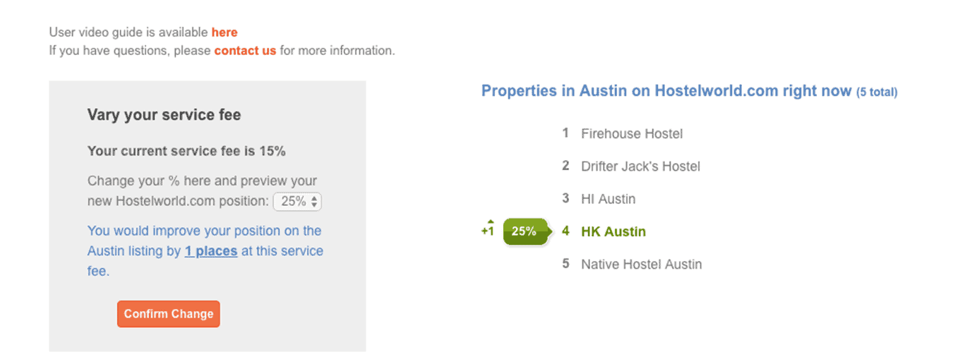 HK Austin's Hostelworld rank with 25% commission