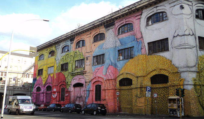 colorful street art in Ostiense, Rome photo by Nicholas Frisardi (flickr:@123711915@N05)
