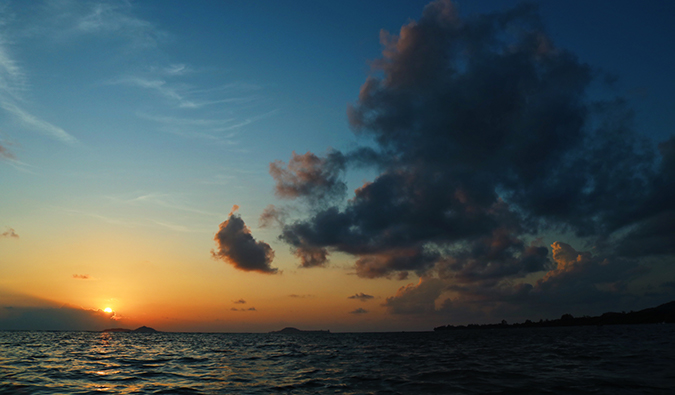 sunset in the Seychelles