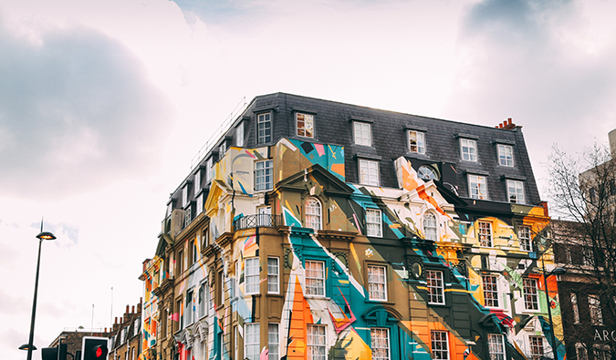 graffiti on a building in Shoreditch, London