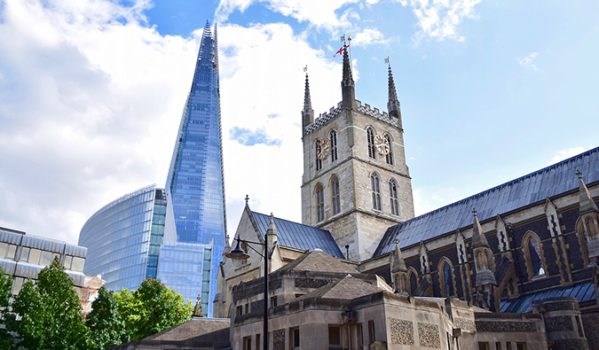 a skyscraper and a cathedral in Southwark