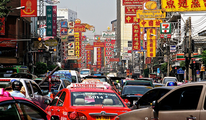 gridlocked traffic in the streets of Bangkok's Chinatown