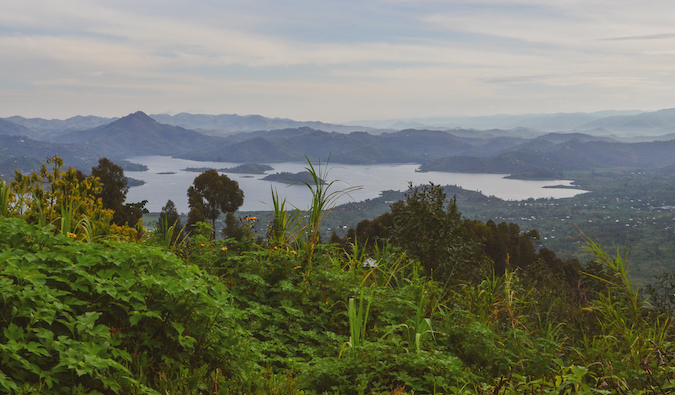 Views over the twin lakes in Musanze and the Virunga Mountain Range