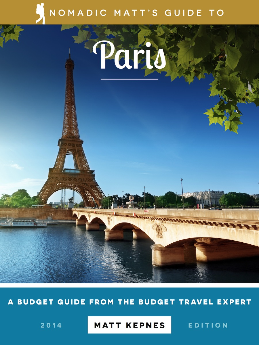 The cover of the paris travel guide by nomadic matt