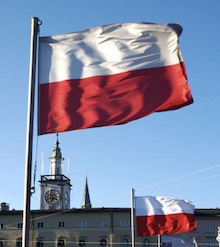 The Polish flag waving over Poland on a sunny day