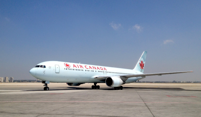 Air Canada airplane on a Canadian runway