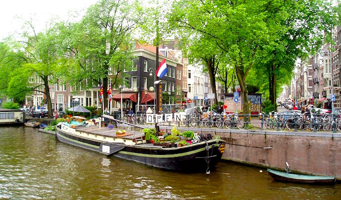 The Amsterdam Houseboat History Museum on a canal in Europe