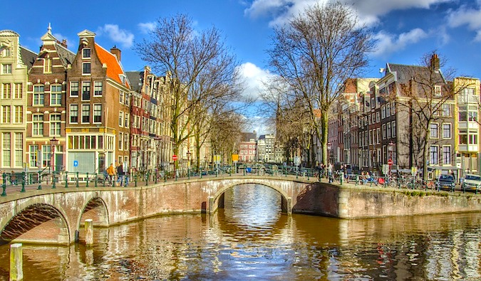 Beautiful bridge on the canal in Amsterdam