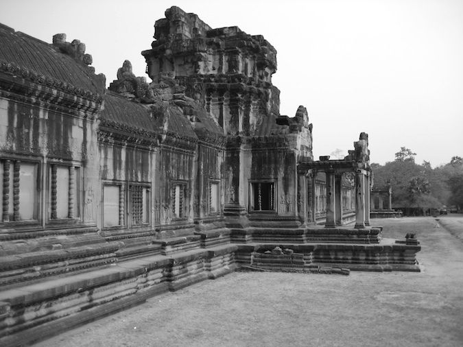 The outer wall to one of the many temples