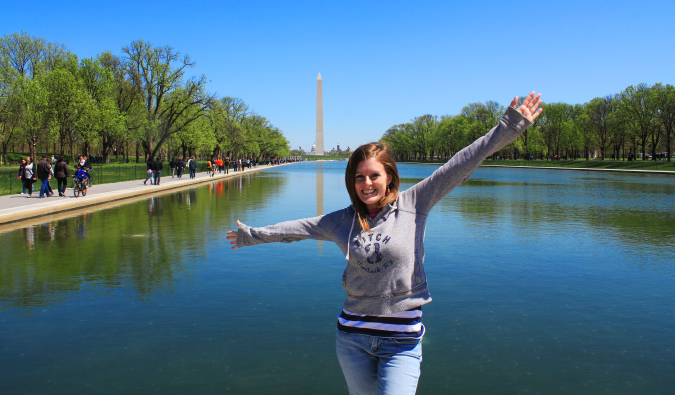 Girl posing in from of the mall in Washington dc