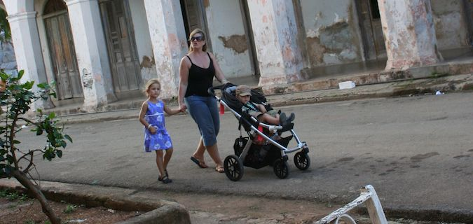 strolling with the baby on travels