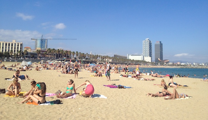the beach in barcelona, spain