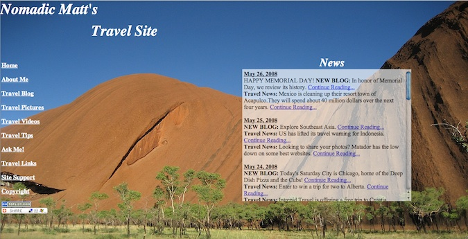 Early homepage of Nomadic Matt's travel site