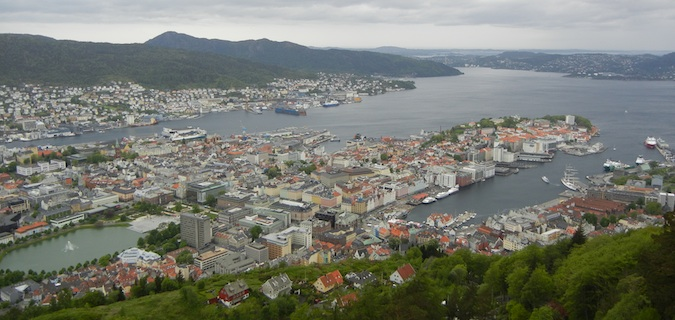 bergen norway from the mountain