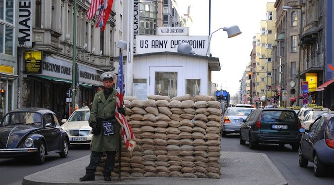 Checkpoint Charlie, a famous statue and icon in Berlin, Germany