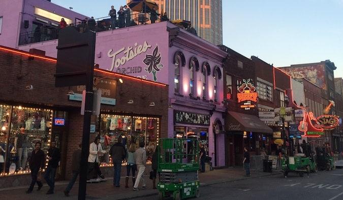 a street of music bars in nashville