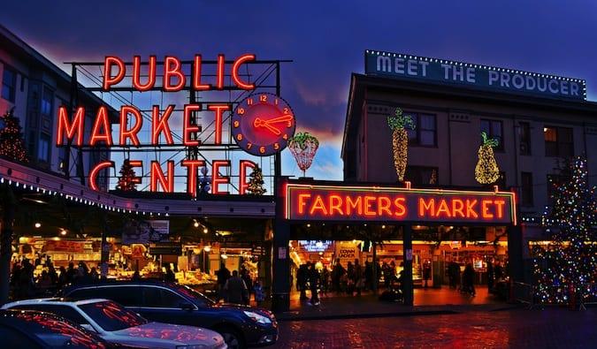 neon lit farmer's market in seattle