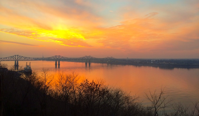 sunset over the mississippi on the natchez outskirts