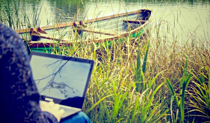 laptop outdoors by boat