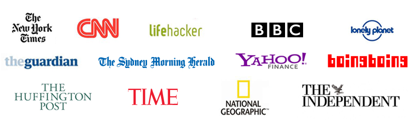 logo of media outlets that Nomadic Matt has been featured in over the years