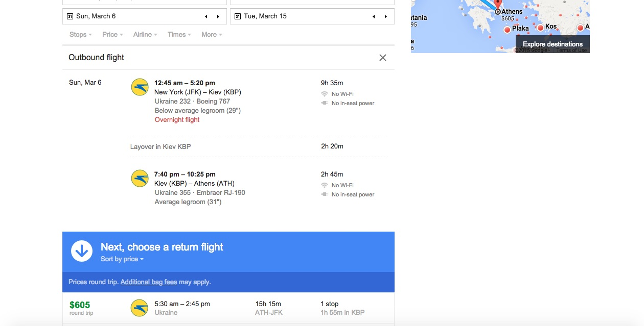 Screenshot of a flight search result