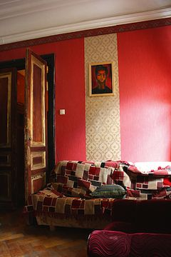 Simple red room in a hostel