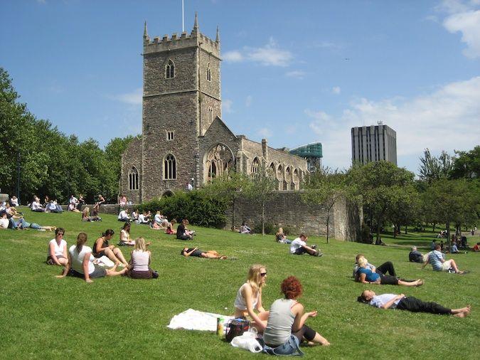 Bristol England grassy noll with church