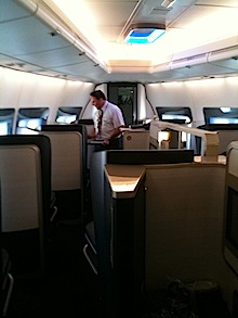 A view of British Airways' first class interior space