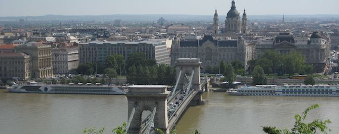 A view of the bridge and streets of Budapest, Hungary