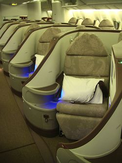 Luxury seats for people flying in business class on an airplane