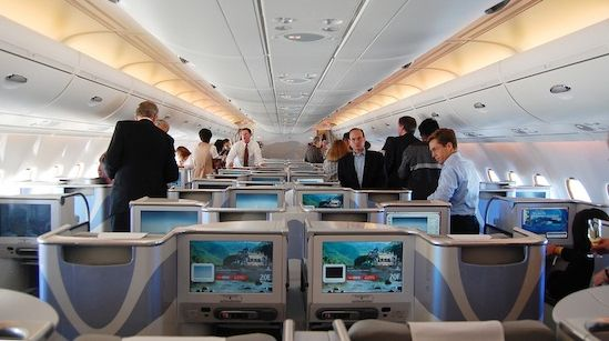 A view of the seat section in business class on a flight