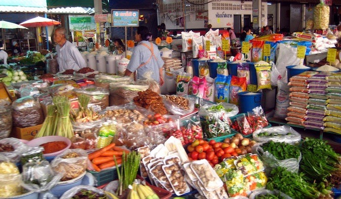 shopping in a market