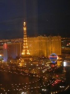 A view of the Paris hotel and the Las Vegas strip