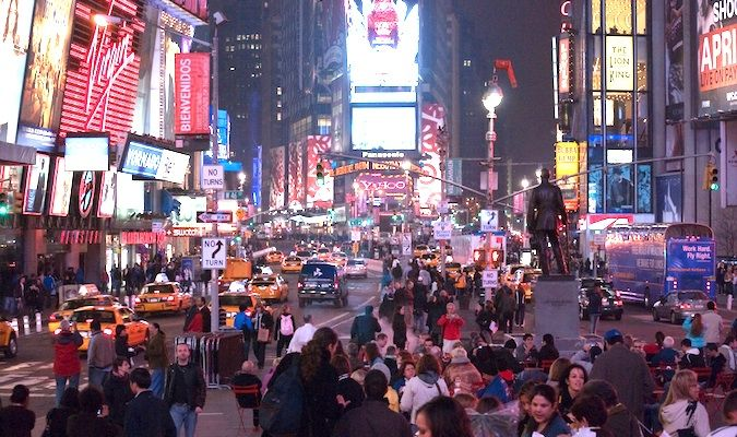The crowds of tourists packing into cheesy Times Square in New York City
