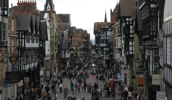 a bustling victorian-style street in chester