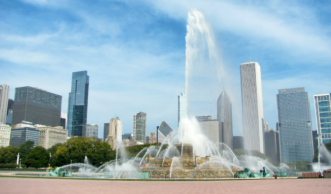 Chicago's fountain in the town center in summer