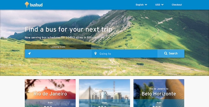 busbud main homepage