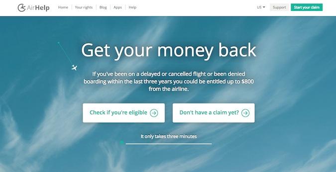 airhelp main homepage