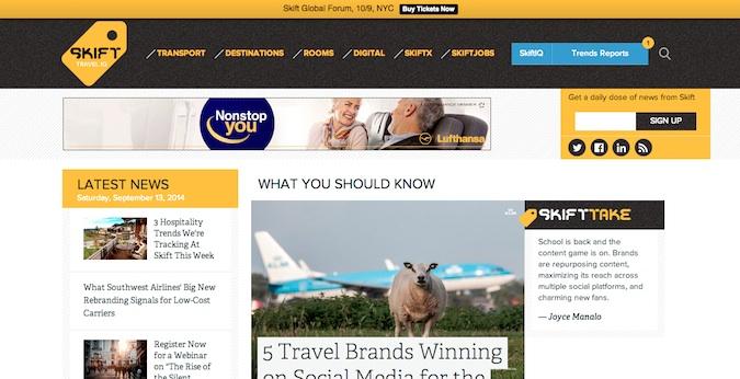 skift main homepage