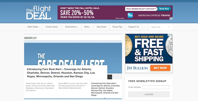 the flight deal main homepage