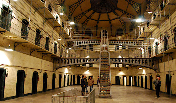 An inside look at the Old Kilmainham Gaol (jail) with a winding staircase