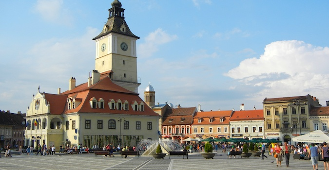 Beautiful buildings at an old town square in Eastern Europe