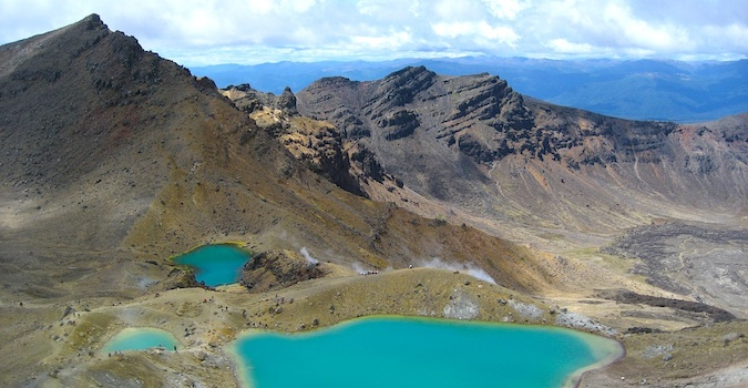 Picturesque view of the blue Tongariro Crossing in New Zealand