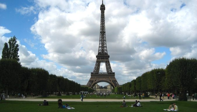 Amazing view of the Eiffel Tower in Paris, France in the summer